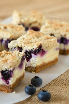 Looking to make something wonderful and tasty? Try making Blueberry Crumble Cheesecake Bars. View the complete Blueberry Crumble Cheesecake Bars recipe here Blueberry Desserts, Just Desserts, Delicious Desserts, Yummy Food, Summer Desserts, Blueberry Cheesecake Bars, Blueberry Crumble Bars, Huckleberry Cheesecake, Cheescake Bars