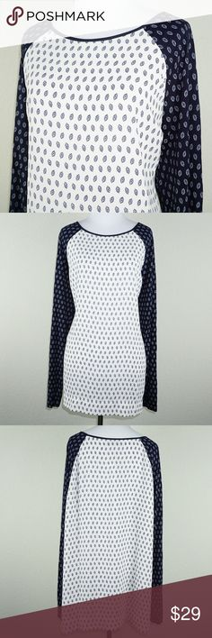 """Ann Taylor LOFT Printed Raglan Baseball Blouse Top Ann Taylor Loft Printed Raglan Baseball Style Top  ▪️ Condition: New with tags!  ▪️ Length 29"""" ▪️ Underarm to Underarm 24"""" ▪️ 100% Polyester  BB LOFT Tops Blouses"""