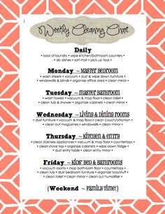 Weekly Cleaning Chart...but modify some!