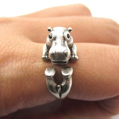 Realistic Hippo Hippopotamus Shaped Animal Wrap Ring in Silver | US Size 6 to 9 from DOTOLY the Animal Themed Jewelry and Gift Store. Saved to Animal