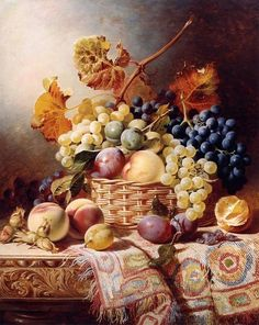 STILL LIFE WITH BASKET OF FRUIT ON A TABLE WITH A RUG, BY WILLIAM DUFFIELD: