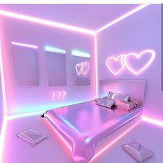 Build Your Dream Bedroom - beterhome Cute Bedroom Ideas, Cute Room Decor, Girl Bedroom Designs, Awesome Bedrooms, Cool Rooms, Neon Bedroom, Girls Bedroom, Bedroom Decor, Neon Lights For Bedroom