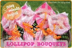 DIY Kids Lollipop Bouquets for dance recitals, plays, concerts. Can't believe how easy (and inexpensive!) these are!