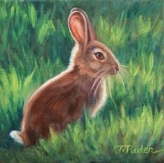 Bunny Rabbit Painting by Theresa Paden, painting by artist Theresa Paden