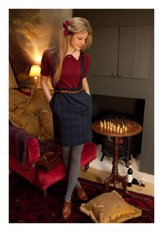 """Miss Patina """"Embrace Me"""" Tartan Skirt (blue) Colored Tights Outfit, Grey Tights, Coloured Tights, Plaid Fashion, Cozy Fashion, Vintage Inspired Fashion, Vintage Fashion, Librarian Style, Romantic Outfit"""