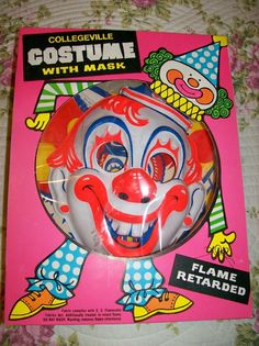 Collegeville Vintage Clown Mask Costume w Box Halloween Michael Myers