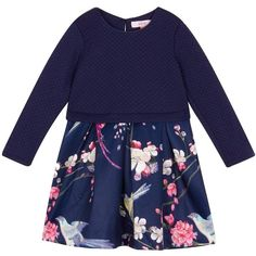 23c0204658080 Baker By Ted Baker Girls  Navy Floral Mock Skirt Dress (53 LYD) ❤