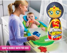 """Whether your kids like bath time or not, this Wonder Woman """"Bath & Bubbles"""" in """"Berry Burst"""" flavour will make their bath time more fun and your job easier.  This Wonder Woman soap and bubble bath comes in a creatively molded bottle that represents the Wonder Woman character in all her glory. It's hypo-allergenic and PH balanced for safe daily use."""