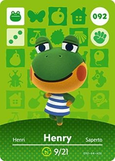 Animal Crossing Happy Home Designer Nintendo Series 1 Amiibo Card: 092 Henry