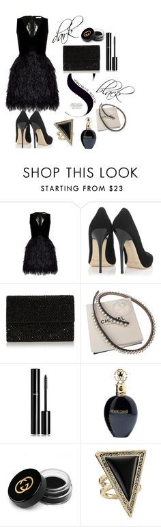 """""""black"""" by omastova-k ❤ liked on Polyvore featuring Alice + Olivia, Jimmy Choo, Chanel, Roberto Cavalli, Gucci, House of Harlow 1960, women's clothing, women's fashion, women and female"""