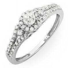 0.50 Carat (ctw) 14k Gold Round Cut Diamond Ladies Engagement Halo Style Bridal Ring 1/2 CT $319.00 (save $847.50)