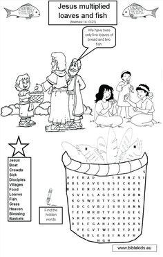 Jesus Feeds The 5000 Coloring Page Pages Bible Story