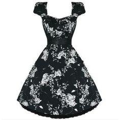Singoallaklänning Blommor svart/vit