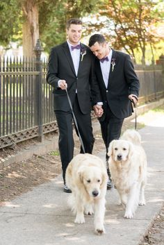 Mikkel Paige Photography pictures of a Raleigh, NC wedding at All Saints Chapel. Gay inspiration with two grooms and their golden retriever dogs.
