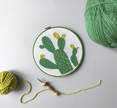 Home decoration with cactus punch needle embroidery in green hoop. Gift package is included.