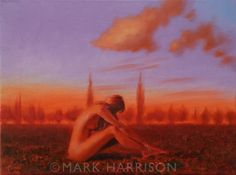 """""""Field Of Dreams"""". A small figurative mood piece. Oil on canvas 15 3/4"""" x 11 3/4""""  SOLD"""