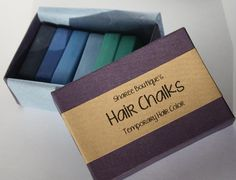 Cool Colored Hair Chalks - 6 Pack - Temporary Color Pastels, Shades of Blue and Teal on Etsy, $20.00