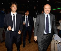 FIGC General Director Michele Uva and Juventus FC Sport Director Giuseppe Marotta look on before the FIFA 2018 World Cup Qualifier between Italy and Spain at Juventus Stadium on October 6, 2016 in Turin.