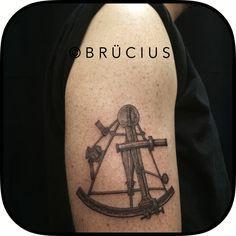 #BRÜCIUS #TATTOO #SF  #brucius #engraving #etching #blackwork   #maritime #memorial #sextant #instrument