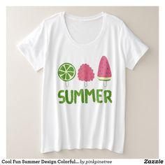 Shop Summer Fruit Popsicles Colorful Cool Design Doodle Plus Size T-Shirt created by pinkpinetree. Summer Fruit, Summer Kids, Cool T Shirts, Tee Shirts, Fruit Popsicles, Pink Color Schemes, Summer Design, Plus Size T Shirts, Summer Tshirts