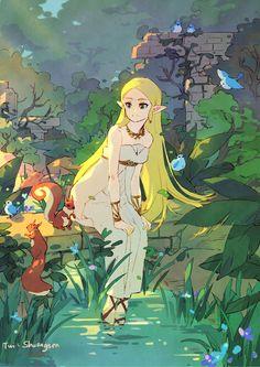 The Legend Of Zelda, Legend Of Zelda Breath, Character Art, Character Design, Princesa Zelda, Link Art, Link Zelda, Cartoon Games, Breath Of The Wild