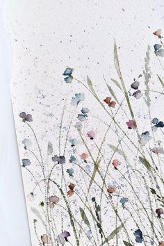 Acquerello astratto con fiori colorati Watercolour Drawings, Watercolor Paintings For Beginners, Watercolor Cards, Watercolor Illustration, Watercolor Flowers, Plant Drawing, Painting & Drawing, Flower Drawing Tutorials, Art Inspo