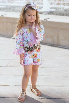 e98250ac9 Lemon Wildflower Dixie Shortie Romper, Leopard Toddler Romper, Little  Girl's Romper, Baby Pink Toddler Romper, Short Ruffled Romper for Girl