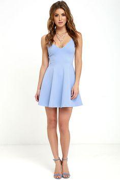 Cute Light Blue Dress - Skater Dress - Fit-and-Flare Dress - $54.00