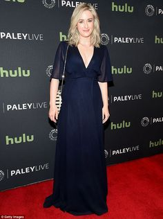 Having a blast: Ashley Johnson wore a dark hued dress with a low-cut neckline, sheer sleeves and a cinched waist, adding a striped bag and pink lip gloss as finishing touches Crimson Dress, Ashley Johnson, Jaimie Alexander, Red Gowns, Pink Lips, Get Dressed, Actresses, Formal Dresses, Lip Gloss