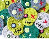 Items similar to Zombie Crochet Skull Pin Brooch Ornament Set of 4 - Christmas Tree Decorations by Julian Bean on Etsy