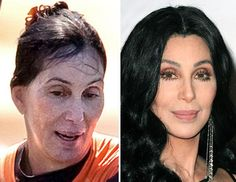 Cher.....with & without makeup and wig - Wow!