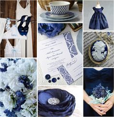 Blue silk flowers with silver/white inside; white flowers with blue/black/silver sparkles or silver dusting