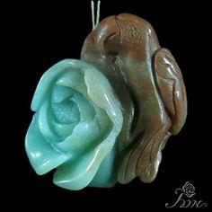 Jewelry Hand-Carved Peony  Natural  Amazonite Gemstone Pendant  Y01128 #ZL #Pendant
