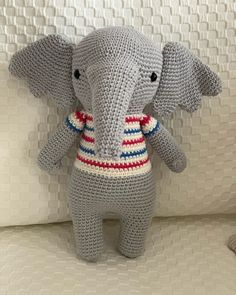 In this article I will share a wonderful amigurumi pattern again. You can enjoy this beautiful amigurumi elephant free english pattern.  Materials  Yarn Pekhorka children's novelty,  1 skein of the main color, half  skein of a different color  Hook 1.5-1.75 Main Colors, Different Colors, Elephant Pattern, Free Pattern, Dinosaur Stuffed Animal, Live, Children, English, Animals