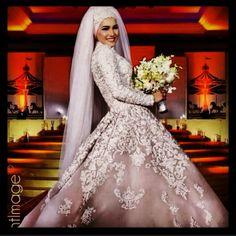 Sarah Shanshal Wearing Rami Kadi Hand Embroidered Couture Bridal Gown to Her Wedding #PerfectMuslimWedding