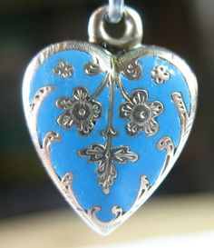 "Forget Me not Flower ""Bit of Blue"" Enameled Puffy Heart Victorian Silver Charm"