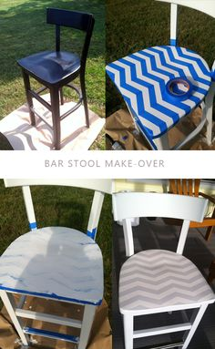 Chevron Bar Stool Make-over DIY