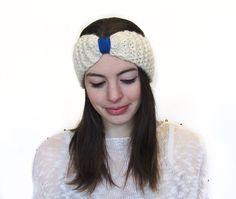 White Wool Headband Turban Headband Winter Headband by Volang