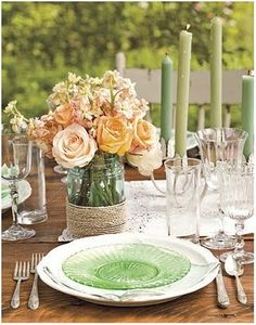 Summer Table Settings - Party Centerpieces for Tables Mason Jar Vases, Mason Jar Flowers, Mason Jar Centerpieces, Wedding Centerpieces, Wedding Decorations, Wedding Ideas, Centerpiece Ideas, Twine Flowers, Wedding Details