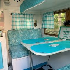 Custom order bench seat covers that transform your trailer | Etsy Cheap Campers, Small Campers, Camping Trailer For Sale, Trailers For Sale, Home Depot, Bench Seat Covers, Rv Curtains, Camper Cushions, Grand Design Rv