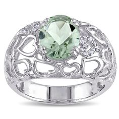 Miadora Sterling Silver Oval Green Amethyst and Diamond Accent Ring (Size 8), Women's
