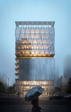 Satyam tower on Behance Office Building Architecture, University Architecture, Building Facade, Architecture Office, Concept Architecture, Architecture Details, Tower Building, Mix Use Building, Glass Building