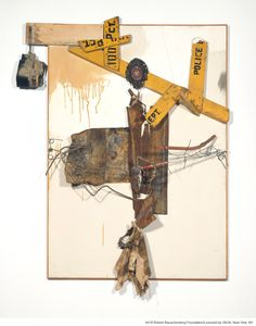 Coexistence | Robert Rauschenberg, 1961 - Oil, fabric, metal, wood on canvas - VMFA Coexistence sculpture