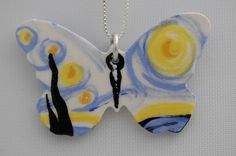 Vincent Van Gogh Ceramic Starry Night Inspired Butterfly Necklace by Butterfly June www.bflyjune.Etsy.com $30.00