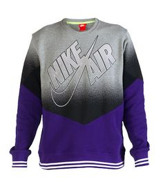 NIKE+Crew+Sweatshirt+NIKE+AIR+logo+on+front+Long+sleeves+Inner+terry+lining+Striped+hem+and+cuffs