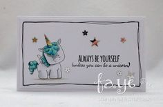 Stamping Bella BELLARIFIC FRIDAY - Rubber stamp used UNICORN SENTIMENT card by FAYE WYNN JONES