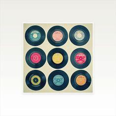 Vinyl Record Art, Music, Retro Wall Art - Vinyl Collection