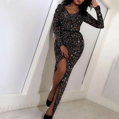 Ladies Sexy V Neck Long Sleeve Paillette Bodycon Dress – Naychic Wedding Dress With Pockets, Lace Dress With Sleeves, Dress Outfits, Casual Dresses, Fashion Dresses, Sequin Dress, Bodycon Dress, Tube Top Dress, Collar Dress