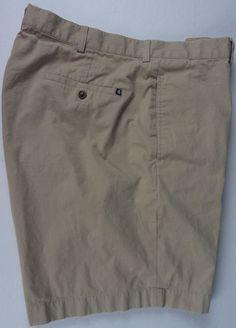 "Brooks Brothers 346 Mens 40 Chino Khaki Shorts Flat Front Poplin 9"" Inseam EUC #BrooksBrothers #CasualShorts"