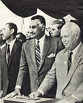 """Egyptian President Nasser and Soviet leader Khrushchev at the ceremony to divert the Nile during the construction of the Aswan High Dam on May 14, 1964. At this occasion Khrushchev called it """"the eighth wonder of the world""""."""